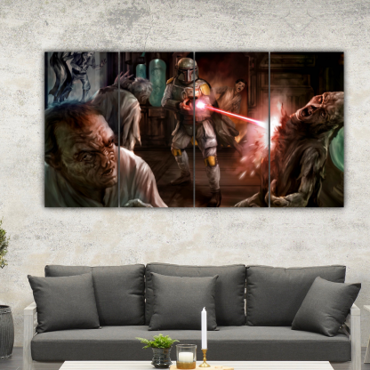 4 Panels Boba Fett and Aliens Multi Canvas Art