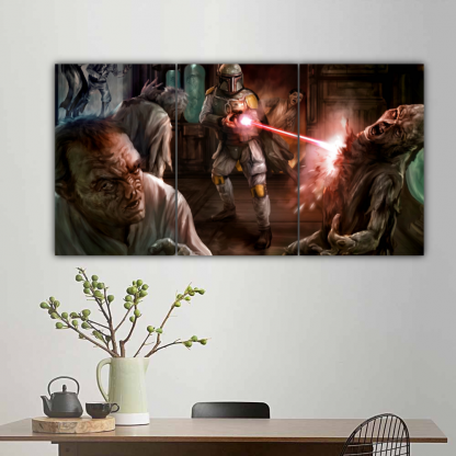 3 Panels Boba Fett and Aliens Multi Canvas Art