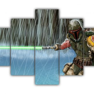 5 Panels Boba Fett fighting Multi Canvas Art