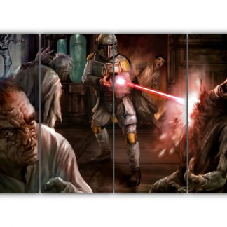 4 Panels Boba Fett killing Aliens Multi Canvas Art