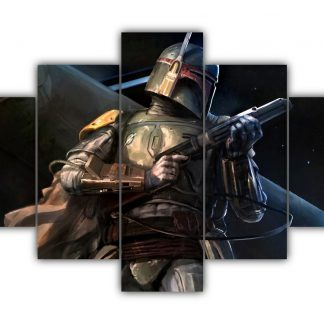 5 Panels Bounty Hunter Boba Fett Multi Canvas Art