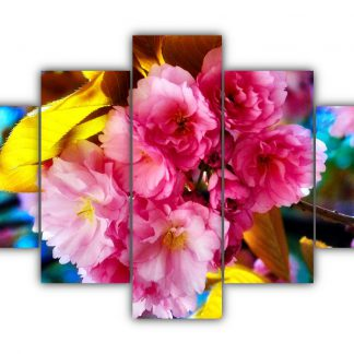 5 Panels Bright Colored Carnations Multi Canvas Art