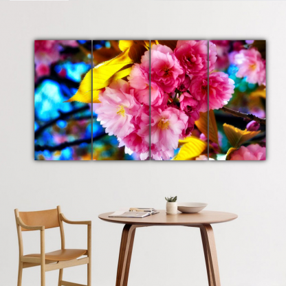 4 Panels Bright Colored Carnations Multi Canvas Art