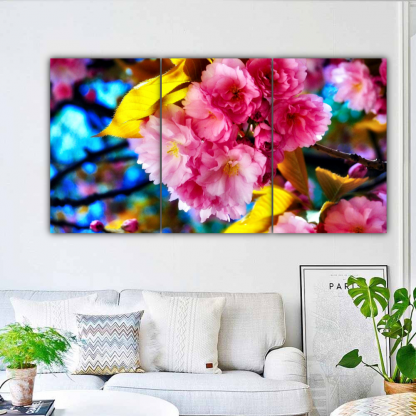 3 Panels Bright Colored Carnations Multi Canvas Art