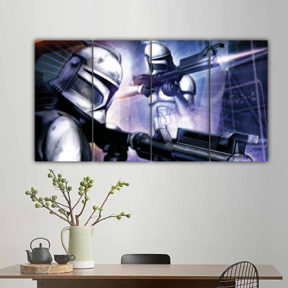 4 Panels Clone Trooper shooting Multi Canvas Art