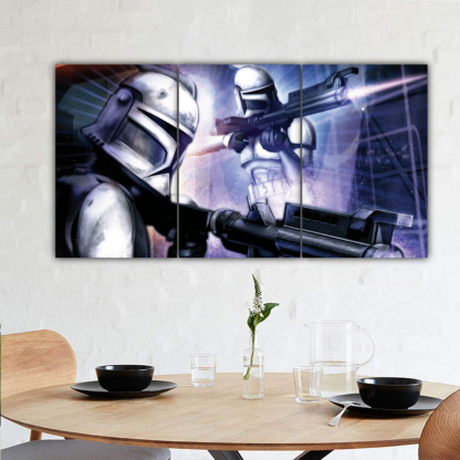 3 Panels Clone Trooper shooting Multi Canvas Art