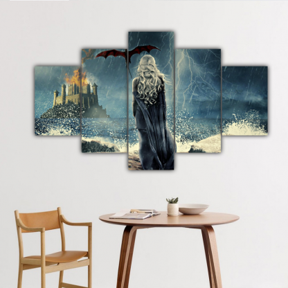 5 Panels Daenerys Targaryen Multi Canvas Art