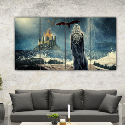 4 Panels Daenerys Targaryen Multi Canvas Art