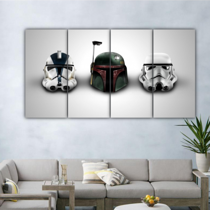 4 Panels Dark Side Sentinals Multi Canvas Art