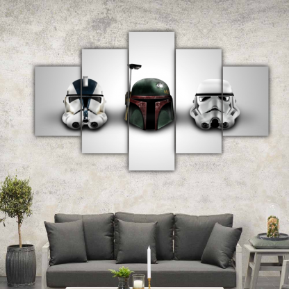 5 Panels Dark Side Sentinals Multi Canvas Art