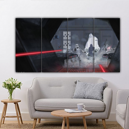 4 Panels Darth Vader Attacked Yoda Multi Canvas Art
