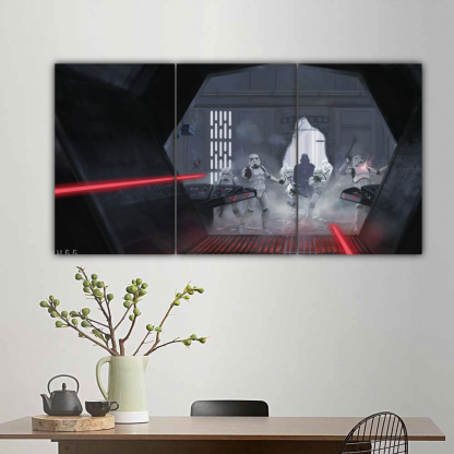 3 Panels Darth Vader Attacked Yoda Multi Canvas Art
