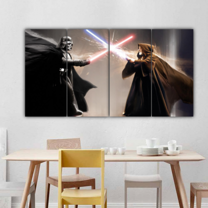 4 Panels Darth Vader Vs Obi-Wan Kenobi Multi Canvas Art