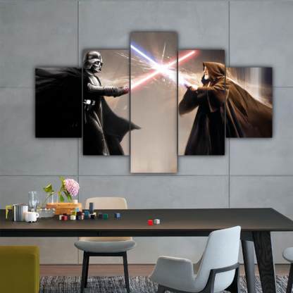 5 Panels Darth Vader Vs Obi-Wan Kenobi Multi Canvas Art