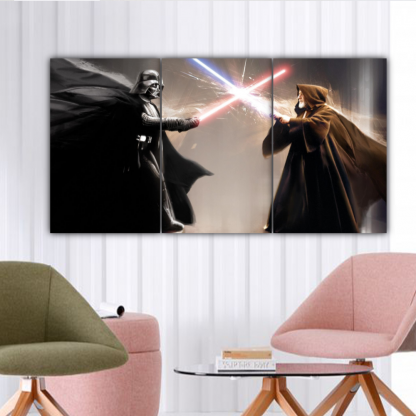 3 Panels Darth Vader Vs Obi-Wan Kenobi Multi Canvas Art