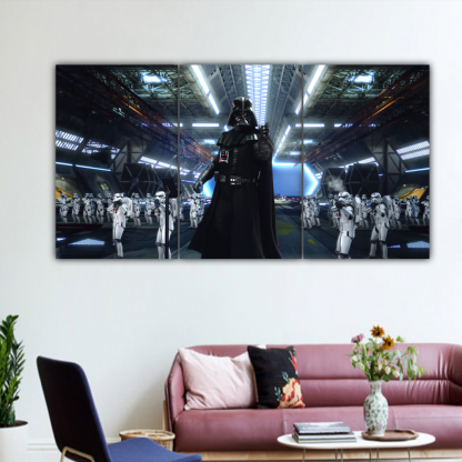 3 Panels Darth Vader and Storm troopers Multi Canvas Art