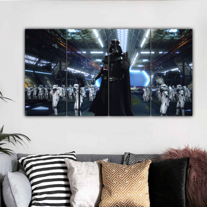 4 Panels Darth Vader and Storm troopers Multi Canvas Art