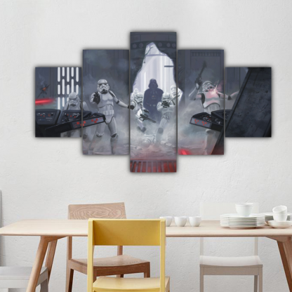 5 Panels Darth Vader Multi Canvas Art