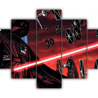 5 Panels Darth Vader with TIE fighter Multi Canvas Art