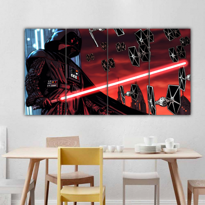 4 Panels Darth Vader with TIE fighter Multi Canvas Art