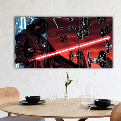 3 Panels Darth Vader with TIE fighter Multi Canvas Art