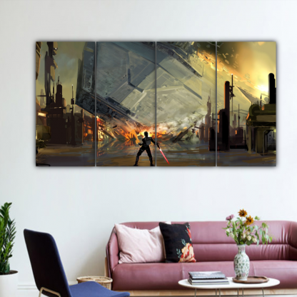4 Panels Destruction Of The Destroyer Multi Canvas Art