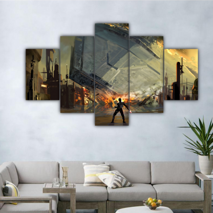 5 Panels Destruction Of The Destroyer Multi Canvas Art