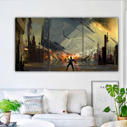 3 Panels Destruction Of The Destroyer Multi Canvas Art