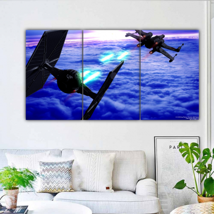 3 Panels Dogfight in Star Wars Multi Canvas Art