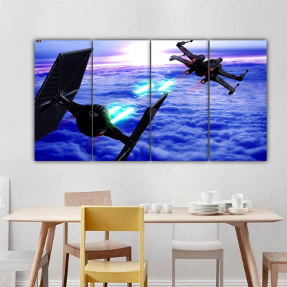 4 Panels Dogfight in Star Wars Multi Canvas Art
