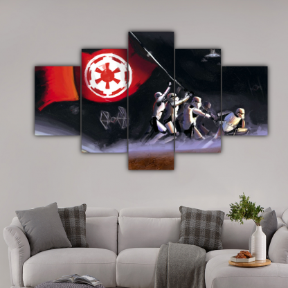 5 Panels Dominance Of Galactic Empire Multi Canvas Art