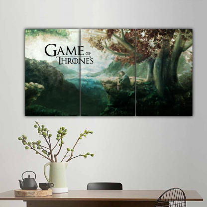 3 Panels Eddard under Weirwood Tree Multi Canvas Art