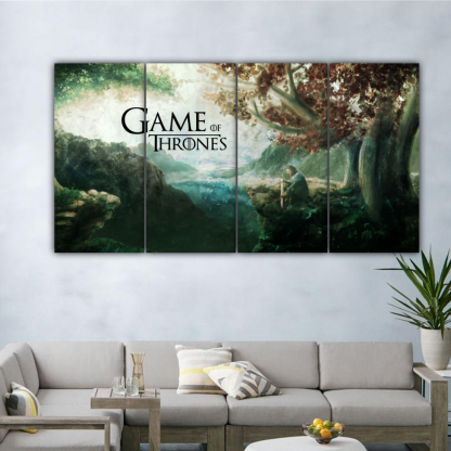 4 Panels Eddard under Weirwood Tree Multi Canvas Art