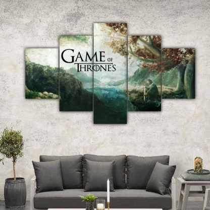 5 Panels Eddard under Weirwood Tree Multi Canvas Art