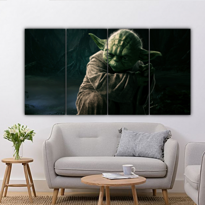 4 Panels Force Of Yoda Multi Canvas Art