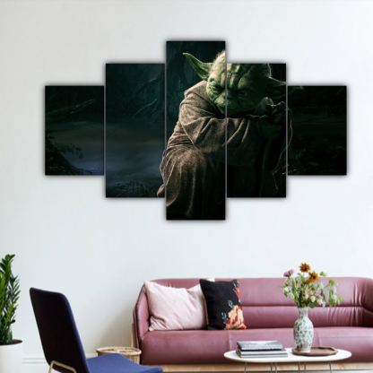 5 Panels Force Of Yoda Multi Canvas Art