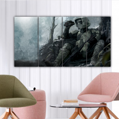 4 Panels Forest Trooper Multi Canvas Art