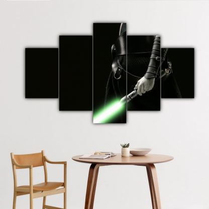 5 Panels Gray Jedi Multi Canvas Art