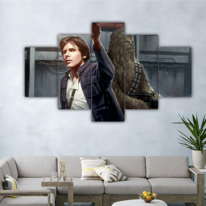 5 Panels Han Solo and Chewbacca Multi Canvas Art