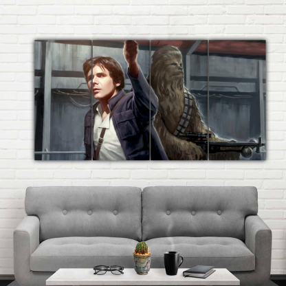 4 Panels Han Solo and Chewbacca Multi Canvas Art