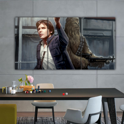 3 Panels Han Solo and Chewbacca Multi Canvas Art