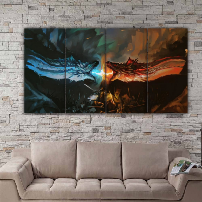 4 Panels Ice vs Fire Multi Canvas Art