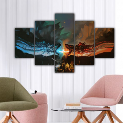 5 Panels Ice vs Fire Multi Canvas Art