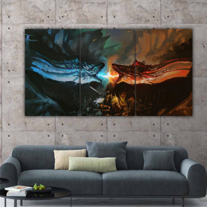 3 Panels Ice vs Fire Multi Canvas Art