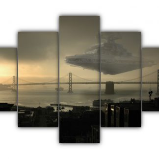 5 Panels Imperial Star Destroyer In Action Multi Canvas Art