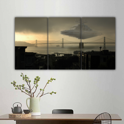 3 Panels Imperial Star Destroyer In Action Multi Canvas Art