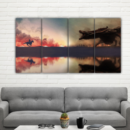 4 Panels Jaime vs Daenerys Multi Canvas Art
