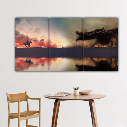 3 Panels Jaime vs Daenerys Multi Canvas Art