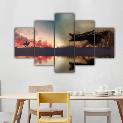 5 Panels Jaime vs Daenerys Multi Canvas Art