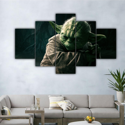 5 Panels Jedi Master Yoda Multi Canvas Art